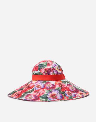 Dolce & Gabbana Poplin Hat With Violet Print