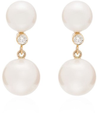 Sophie Bille Brahe 14kt Yellow Gold Diamond Pearl Earrings
