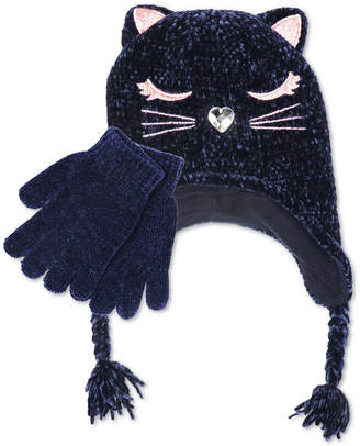 Fab Big Girls 2-Pc. Chenille Kitty Trapper Hat & Gloves Set