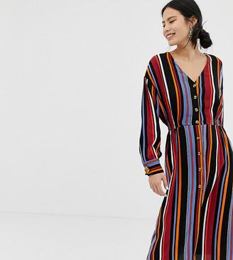 Pimkie button front midi dress in stripe-Multi