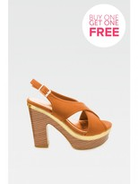 Select Fashion Fashion Womens Brown Crossover Gold Detail Platform - size 5