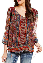 Miss Me Printed Crochet Peasant Top