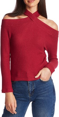 1 STATE 1.STATE Cozy Crisscross Neck Cold Shoulder Top