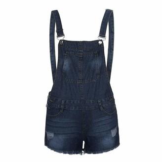 WOZOW Short Denim Overalls for Women UK Cotton Shortalls