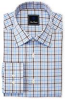 David Donahue Blue & Brown Check Dress Shirt