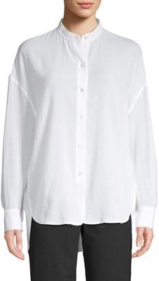 Vince Mandarin Collar Cotton Top