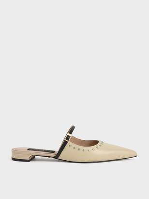 Charles & Keith Studded Leather Mules