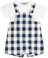 La Stupenderia Cotton Poplin Shirt & Gingham Overalls