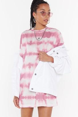 Nasty Gal Womens Rose Tie Dye Oversize T-Shirt Dress - Pink - 4, Pink