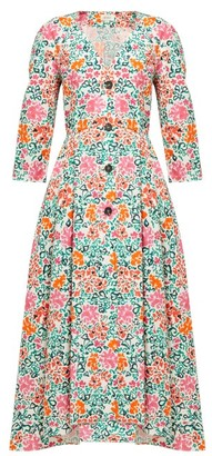 Isa Arfen Sorrento Floral-print Cotton Dress - Womens - Pink Multi