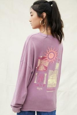 Urban Outfitters Long Sleeve Sun Skate Tee - Purple XS at