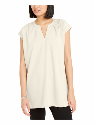Alfani Womens White Solid Cap Sleeve Keyhole Peasant Top UK Size:12