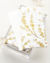 Caspari 30 Guest Towels in Acrylic Holder - Gold Berry Branches