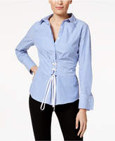 NY Collection Striped Corset-Waist Blouse
