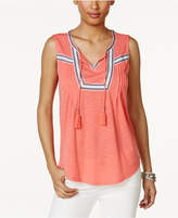 Style&Co. Style & Co Embroidered Tasseled Top, Only at Macy's