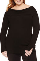 Liz Claiborne Long Sleeve Boat Neck Pullover Sweater-Plus
