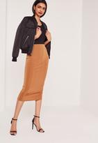 Missguided Wide Rib Midi Skirt Tan