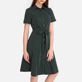 La Redoute Collections Striped Midi Short-Sleeved Shirt Dress