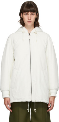Yves Salomon Army Reversible White Fur Short Coat
