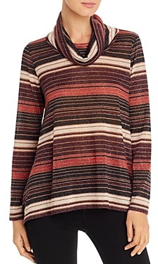 Status by Chenault Cowl Neck Metallic Striped Top
