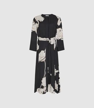 Reiss Zana - Floral Printed Midi Dress in Black