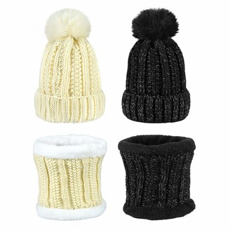 EAONE Winter Knit Beanie Hat Scarf Set 4 Pcs Thick Fleece Lining Cap with Pom Pom Neck Warmer Gaiter for Couples Girls Women