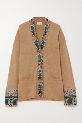 Etro Jacquard-trimmed Wool-blend Cardigan - Beige