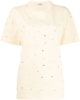 Miu Miu rhinestone embellished T-shirt