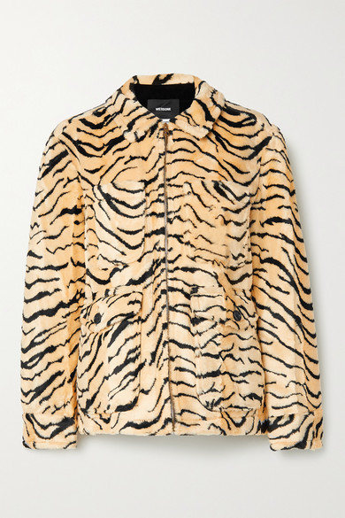 we11done Embellished Printed Faux Fur Jacket - Yellow