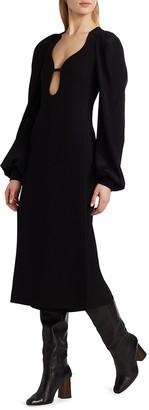 Victoria Beckham Long Sleeve Keyhole Midi Dress