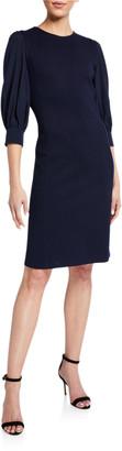 St. John Milano Knit Chiffon Sleeve Dress