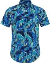 Regular Fit Short Sleeve Parrot Print Shirt
