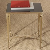 The Well Appointed House Global Views Rectangular French Square Leg Table in Brass with Black Granite Top
