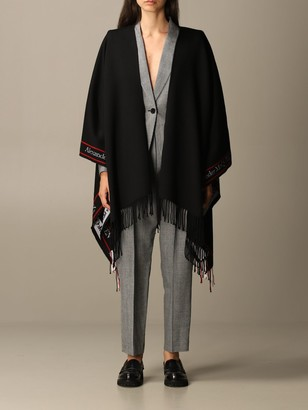 Alexander McQueen Cape In Wool And Cashmere With Logo