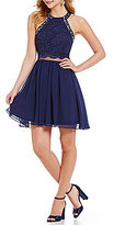 Jodi Kristopher Bead-Accented High Neck Glitter Lace Bodice Open-Back Skater Dress