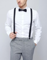 Asos Wedding Vintage Finish Braces & Bow Tie Set In Black