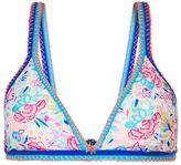 Accessorize Printed Crochet Edge Triangle Bikini Top