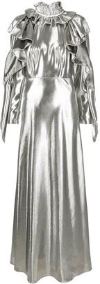 Alberta Ferretti Metallic Ruffled Gown