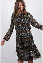 Molly Bracken Printed Peplum Midi Dress