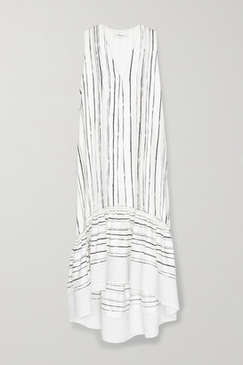 3.1 Phillip Lim Tiered Striped Silk Midi Dress - White