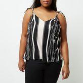 River Island Womens Plus black chain print cami top