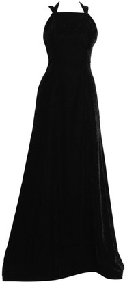 Alaia Strappy Open Back Velvet A-Line Gown