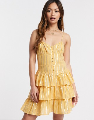 ASOS DESIGN button front mini tiered sundress in metallic stripe in mustard
