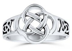 Bling Jewelry BFF Infinity Knot Irish Celtic Band Ring Oxidized 925 Sterling Silver