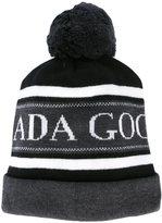 Canada Goose logo pompom beanie hat