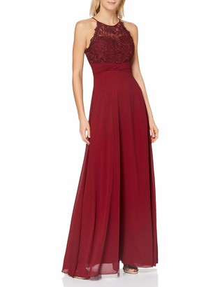 APART Fashion Women's Apart bezauberndes Damen Kleid Lang Abendkleid Ballkleid transparente Spitze teilweise blickdicht unterlegt Empire Special Occasion Dress