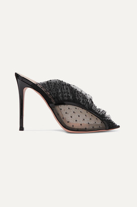 Gianvito Rossi 105 Ruffled Point D'esprit And Patent-leather Mules - Black