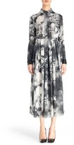 Christopher Kane Pleated Print Silk Georgette Midi Dress