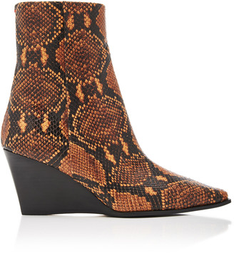 AEYDĒ Lena Snake-Print Leather Wedge Boots