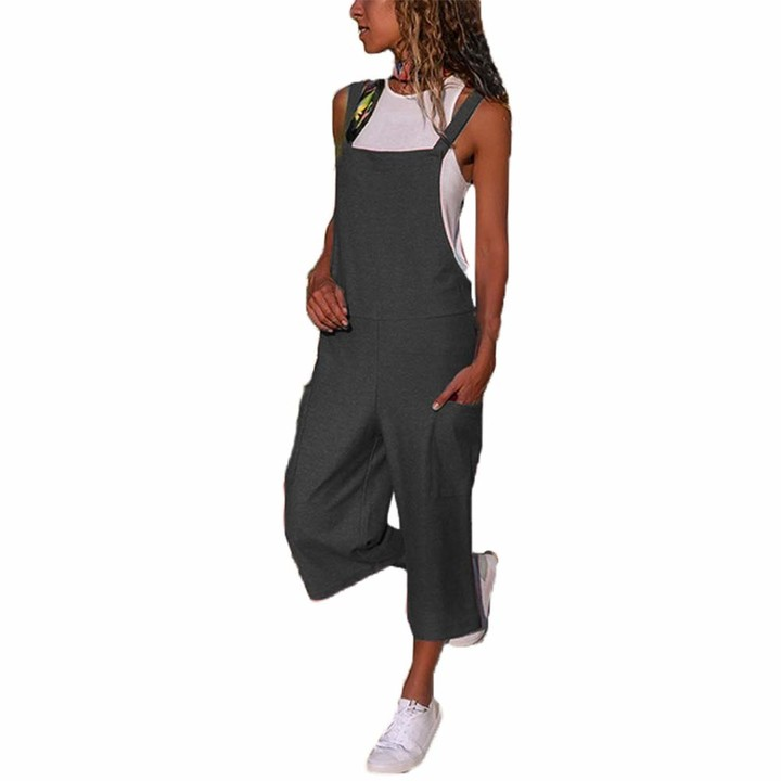 YILEEGOO Cotton Linen Dungarees for Women Ladies Casual Overalls Baggy Wide Leg Pants Jumpsuit Playsuit